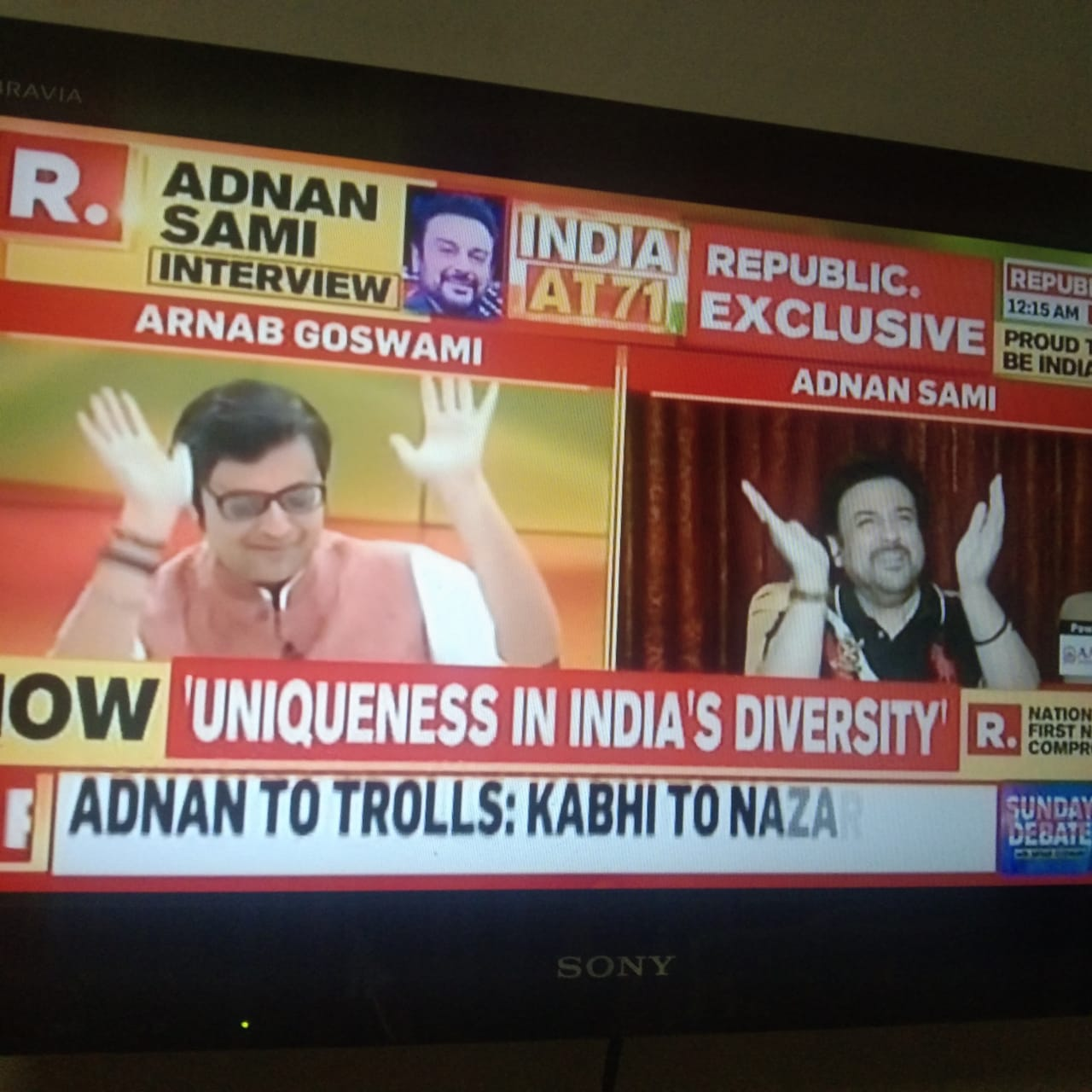 For once, Arnab dances on his show