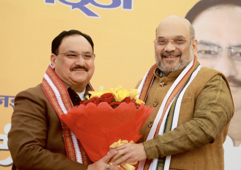 Home Minister Amit Shah tweets :यह हम सबके लिए आनंद, गौरव और हर्ष का विषय है कि भाजपा ने अपनी महान परंपरा का निर्वहन करते हुए एक सामान्य कार्यकर्ता के रूप में अपना जीवन शुरू करने वाले जमीन से जुड़े श्री @JPNadda जी को सर्वसम्मति से पार्टी के अध्यक्ष पद के लिए चुना