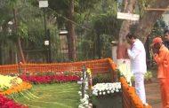 Maharashtra Deputy Chief Minister Ajit Pawar pays tribute to Bal Thackeray on his birth anniversary  at Shivaji Park in Mumbai today.