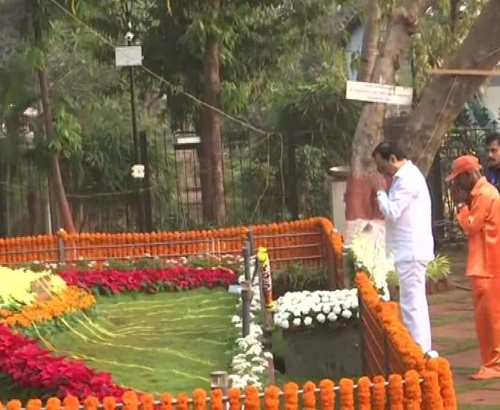 Maharashtra Deputy Chief Minister Ajit Pawar pays tribute to Bal Thackeray on his birth anniversary  at Shivaji Park in Mumbai today.