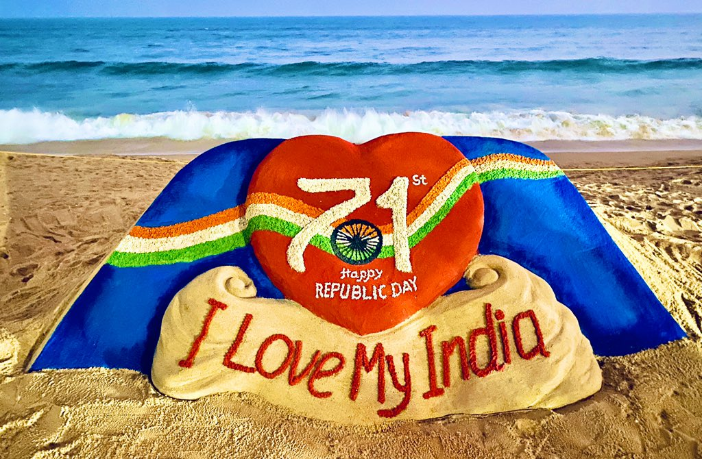 Sand Artist Sudarsan Pattnaik tweeted : Greetings to all on India's 71st Republic Day. This is the SandArt I've created at Puri beach, #Odisha for the National Day with the theme: #ILoveMyIndia. Jai Hind!