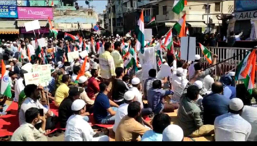 Bengaluru: Protest held against Citizenship Amendment Act (CAA) and National Register of Citizens (NRC) at Chandni Chowk, Shivajinagar Karnataka.