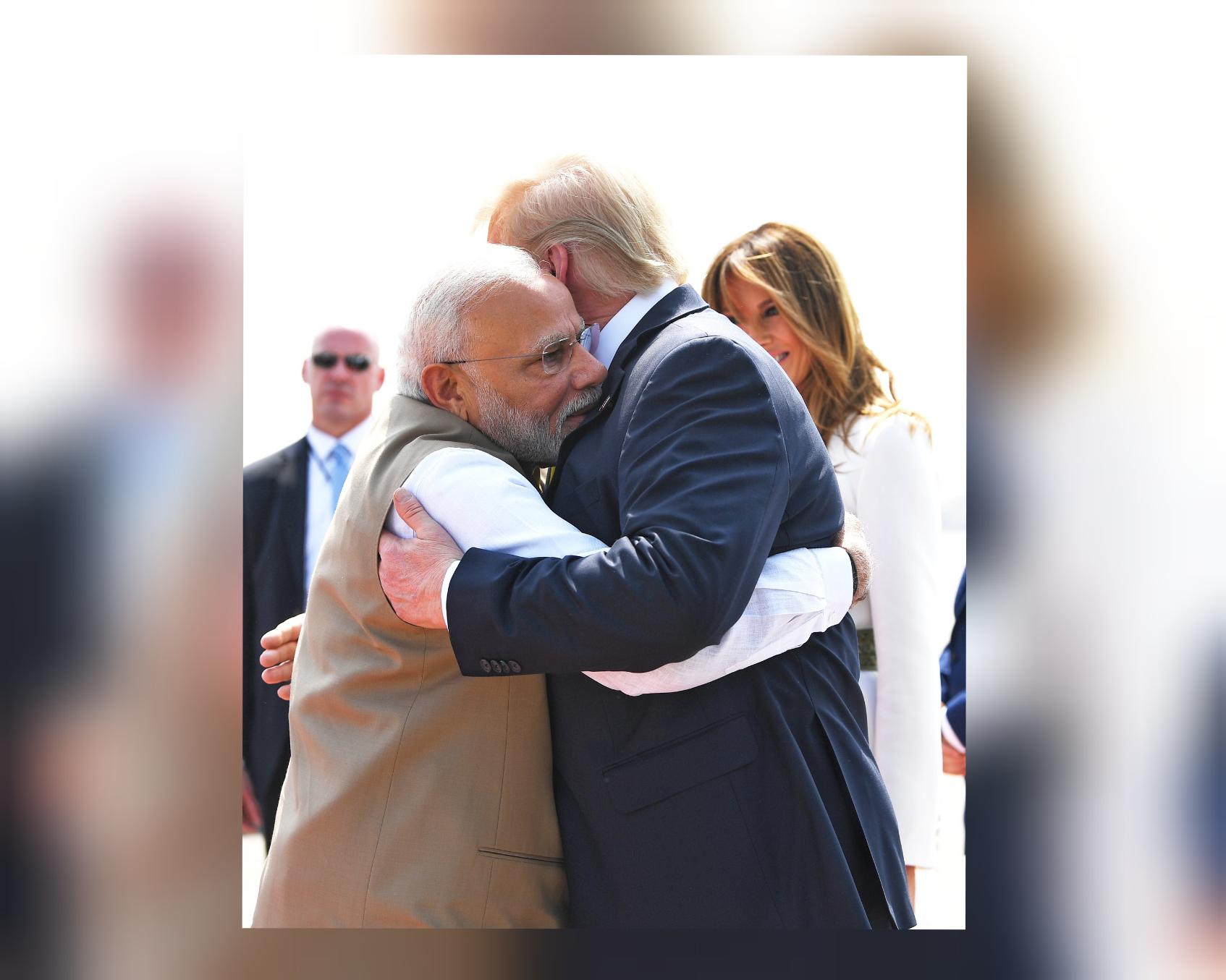 Hand shakes, bear hug as India says Namaste Trump...