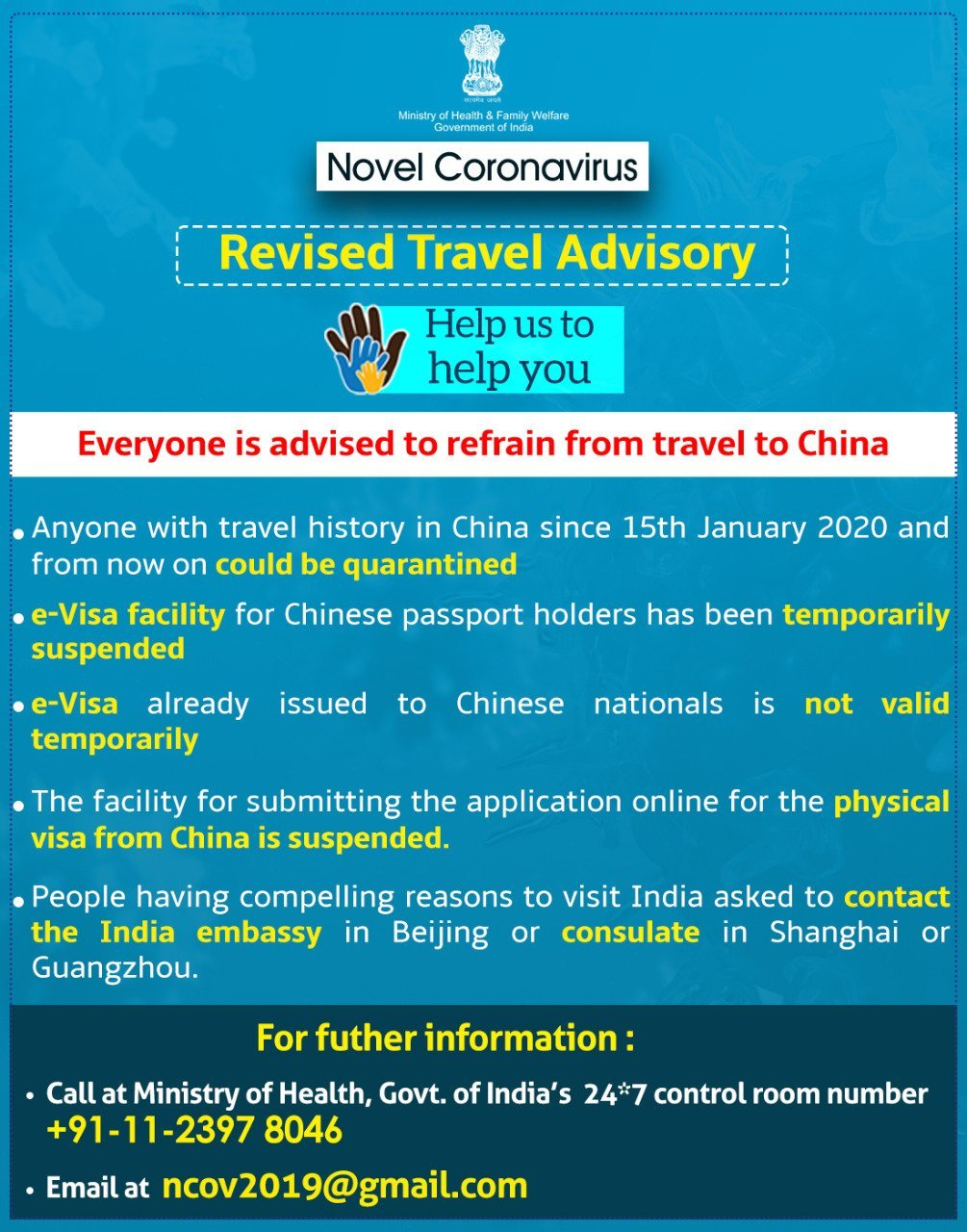 Union Ministry of Health and Family Welfare issues revised travel advisory over CoronaVirus.
