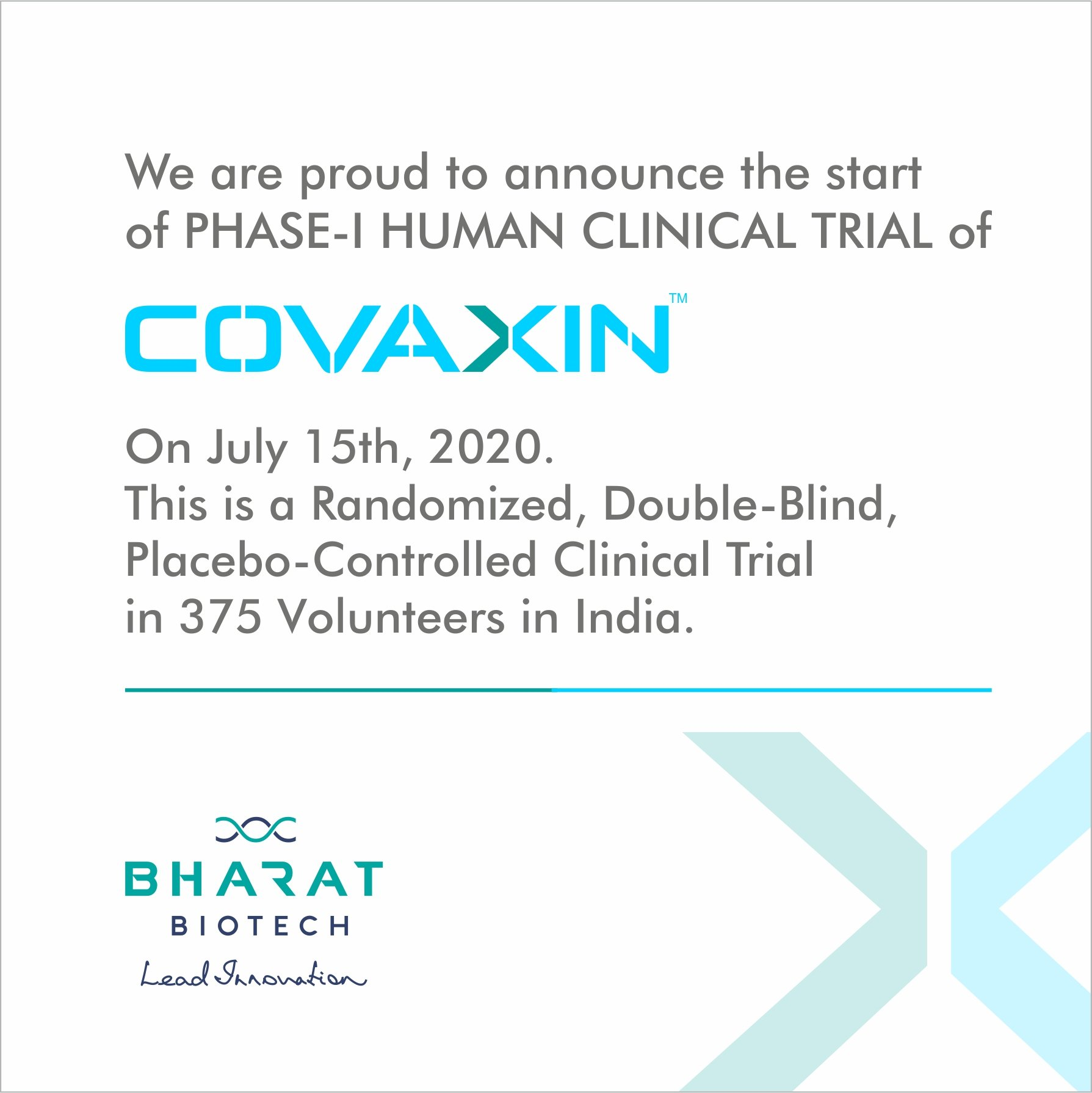 India's First Indigenous COVID19 Vaccine, COVAXIN™, initiated Phase-1 clinical trials across the country on 15th July 2020...