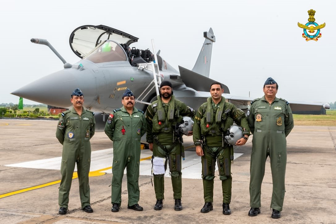 The Chief of the Air Staff Air Chief Marshal RKS Bhadauria & AOC-in-C WAC Air Marshal B Suresh welcomed the first five IAF Rafales which arrived at AF Stn Ambala today.