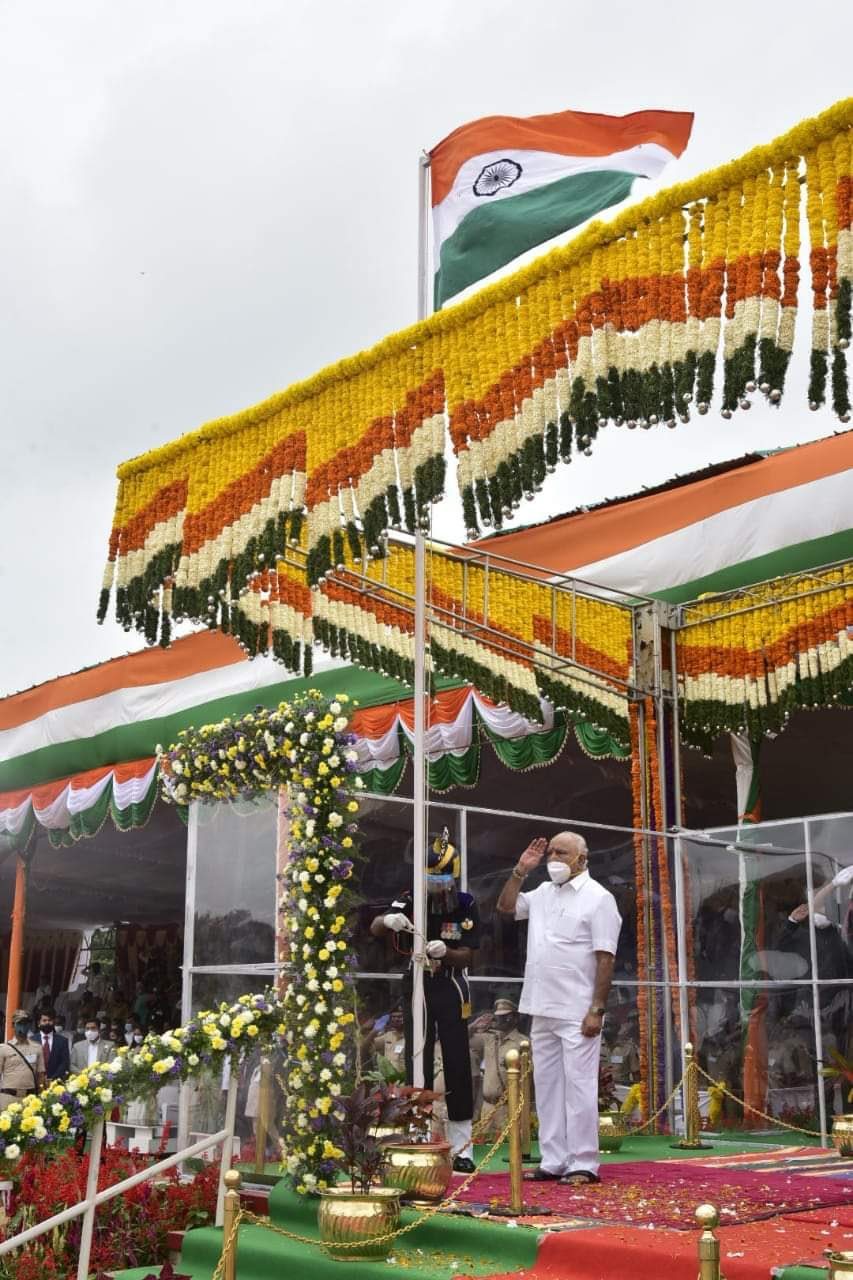 CM BS Yediyurappa unfurls the National Flag at the Field Marshal Manekshaw Parade Grounds in Bengaluru on 74th Independence Day Celebrations...