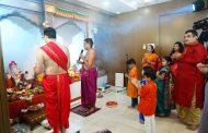 Union Minister Nitin Gadkari celebrates Ganesh Chaturthi with his family in Nagpur.