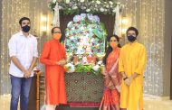 CM Uddhav Balasaheb Thackeray along with wife Rashmi Thackeray, Minister, Aditya Thackeray and Tejas Thackeray offered prayers to Lord Ganesha at official residence Varsha.