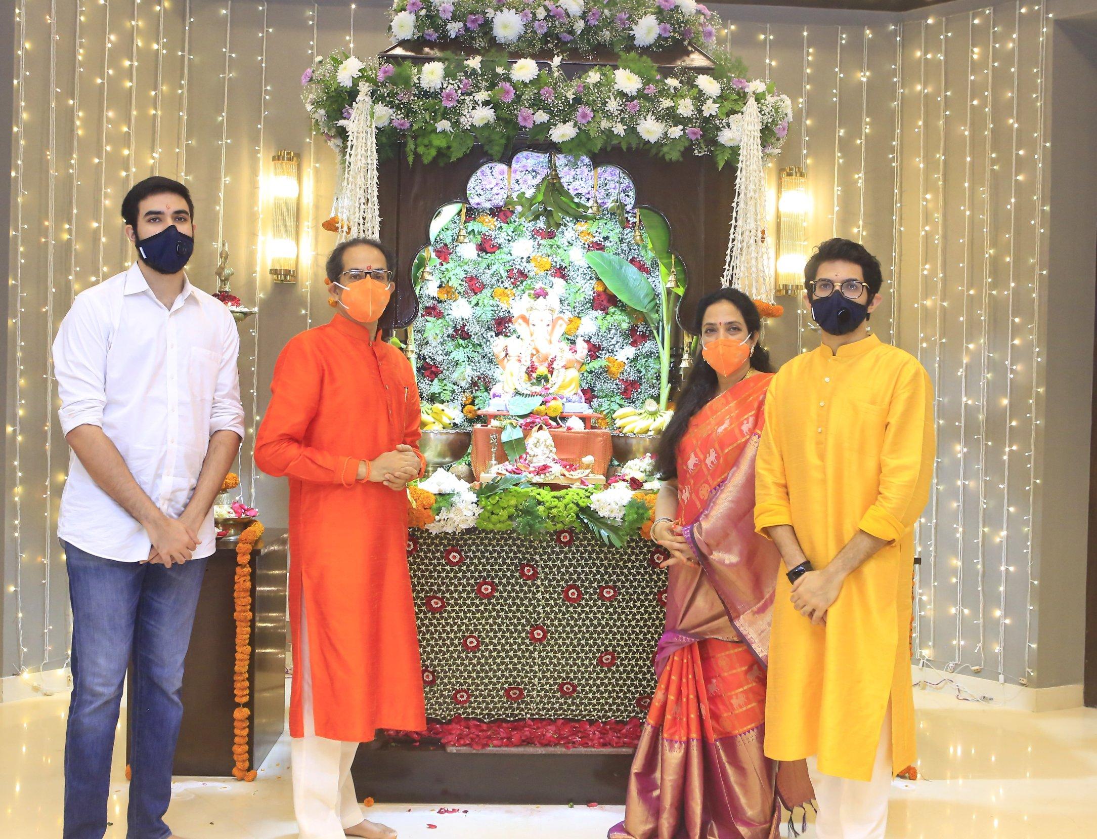 CM Uddhav Balasaheb Thackeray along with wife Rashmi Thackeray, Minister, Aditya Thackeray and Tejas Thackeray offered prayers to Lord Ganesha at official residence Varsha.