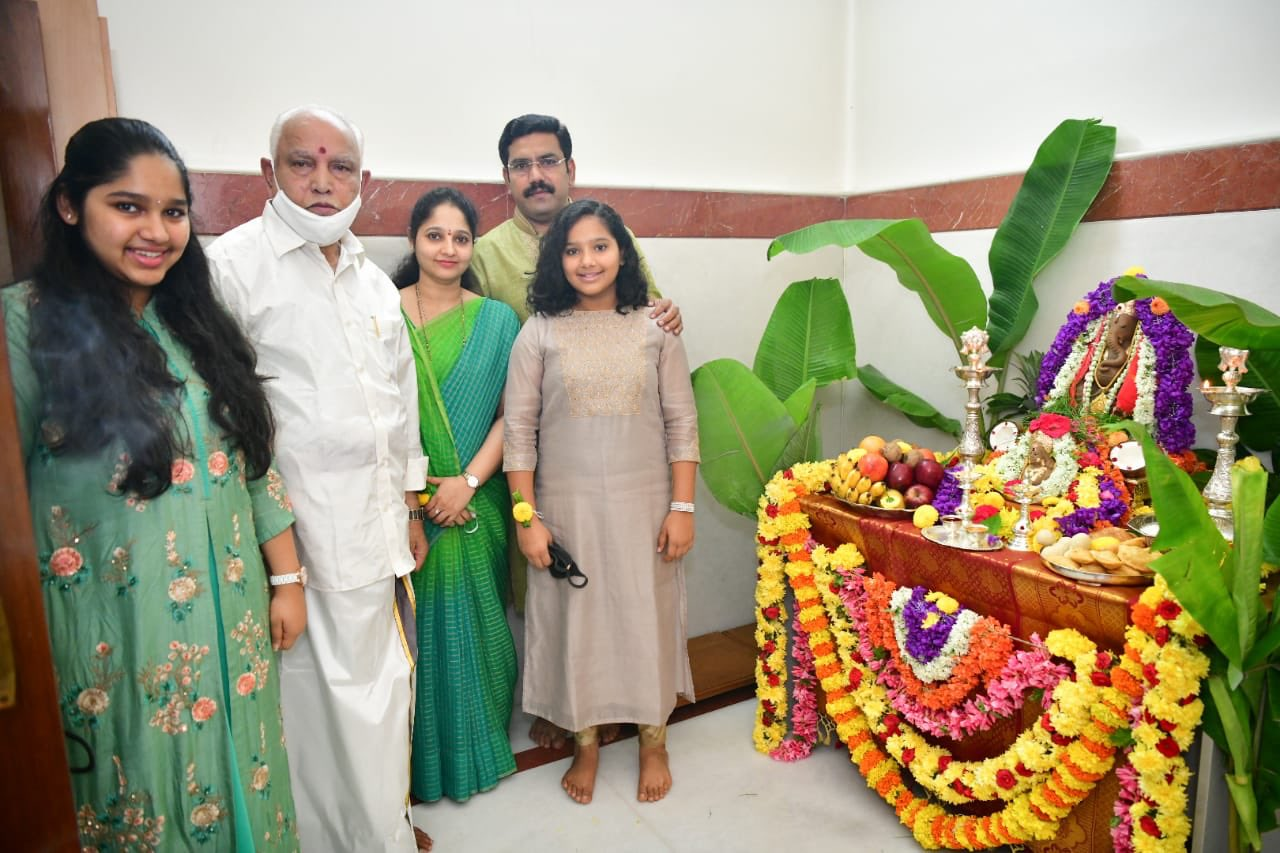 CM of Karnataka BS Yediyurappa celebrates GaneshChaturthi with his family...