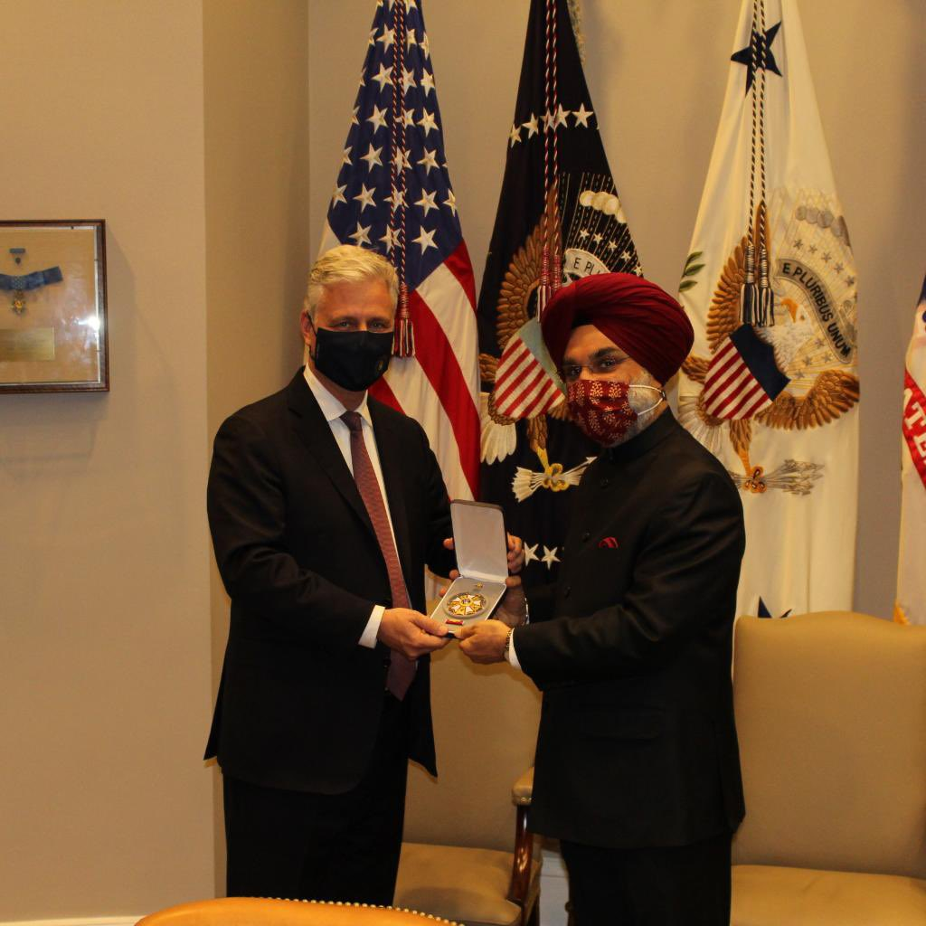 President Donald Trump presents the 'Legion of Merit' to Prime Minister Narendra Modi for his leadership in elevating the USA-India strategic partnership...