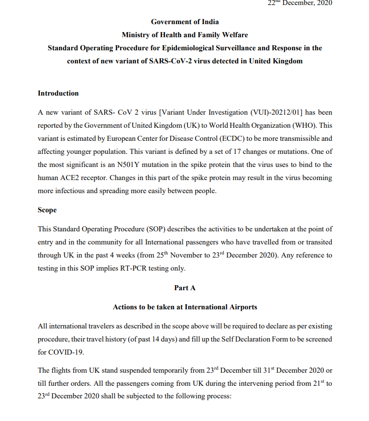 Union Health Ministry issues Standard Operating Procedure for epidemiological surveillance and response in the context of new variant of SARS-CoV-2 virus detected in the United Kingdom.