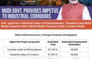 Strengthening Industrial Corridors: Govt led by PM Narendra Modi approves proposals for:  Industrial nodes at Krishnapatnam, Andhra Pradesh & Tumakuru, Karnataka; Multi-Modal Logistics Hub & Multi-Modal Transport Hub at Greater Noida, Uttar Pradesh