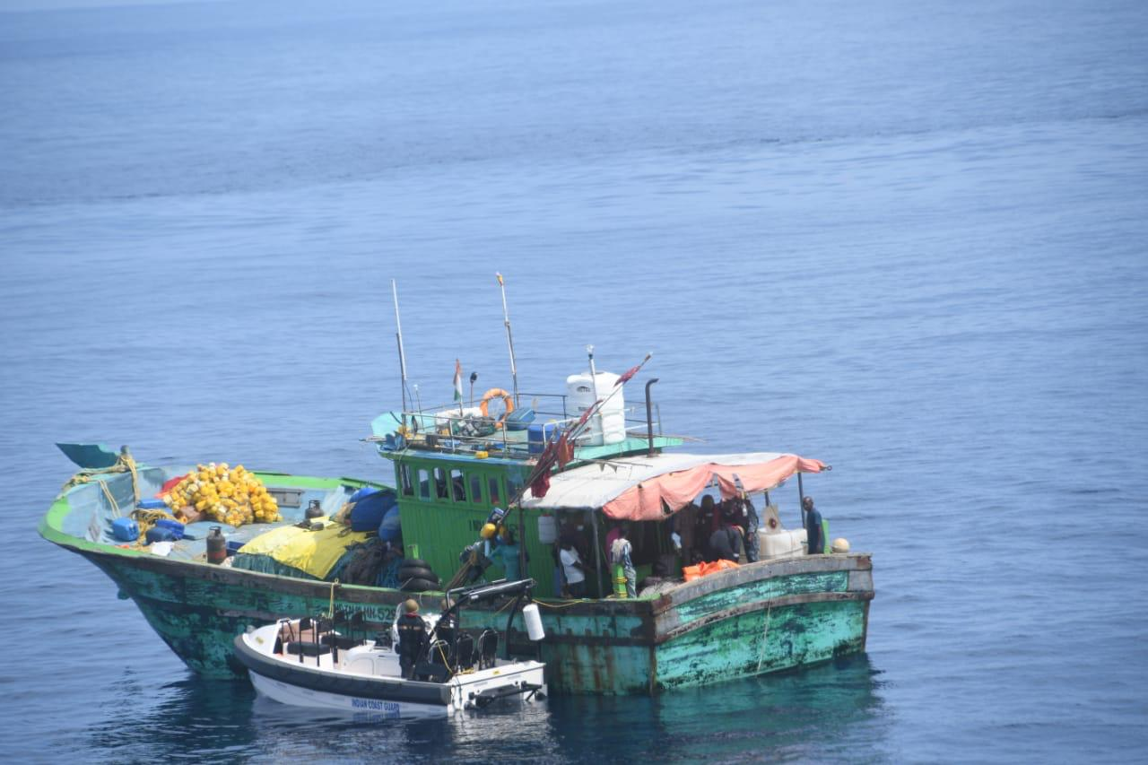 INDIAN COAST GUARD RESCUES TN FISHERMEN 140 MILES WEST OFF NEW MANGALORE FROM FISHING BOAT WHICH HAD FIRE ONBOARD...
