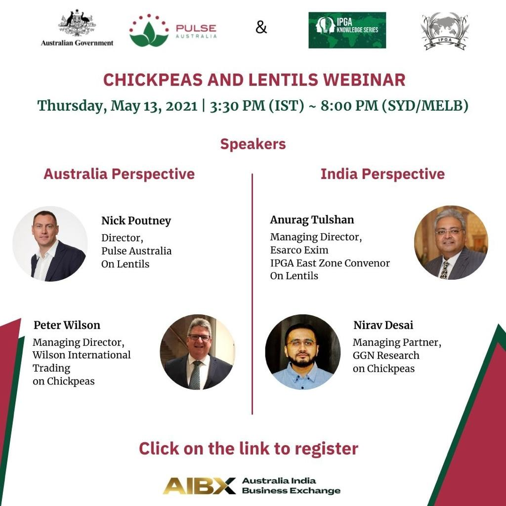 IPGA, PULSE AUSTRALIA AND AUSTRADE to co-host the  IPGA KNOWLEDGE SERIES webinar on Chickpeas and Lentils