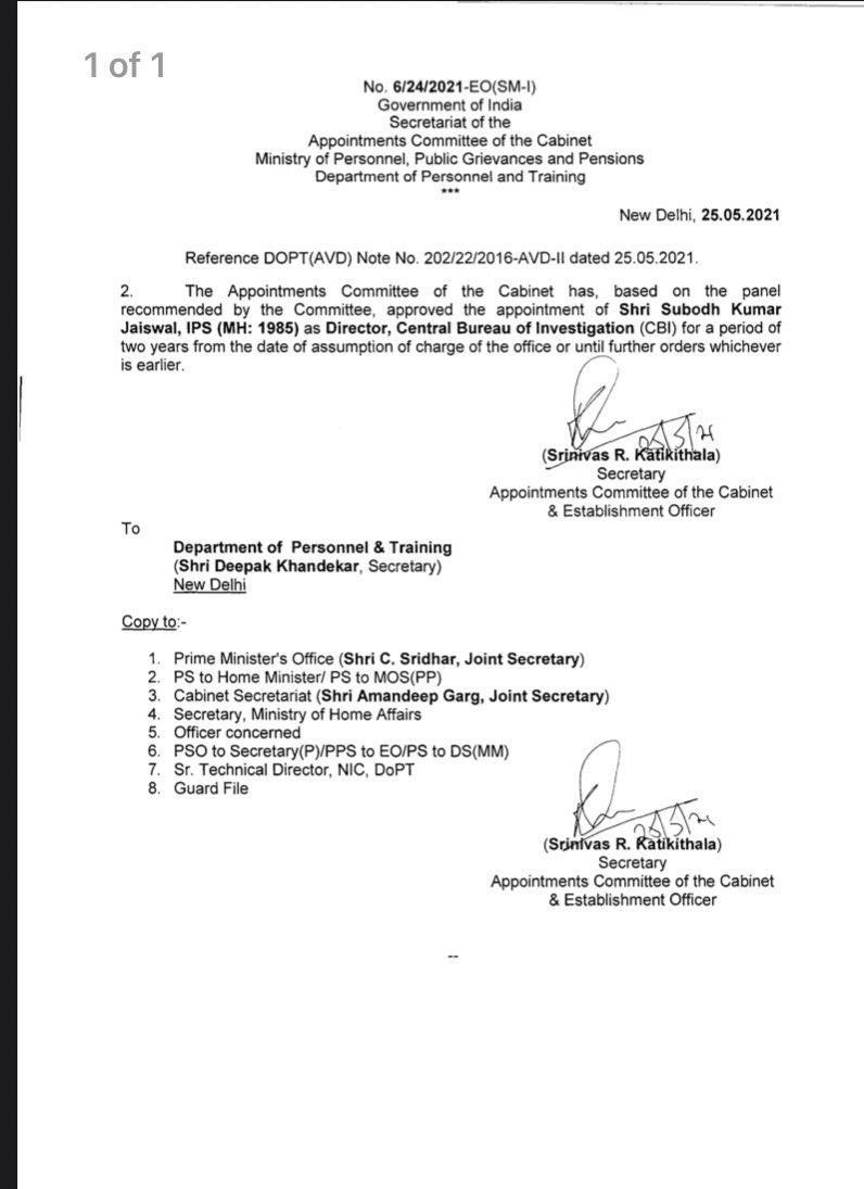 Subodh Kumar Jaiswal (1985 batch) Maharashtra cadre IPS officer is the new CBI Director.