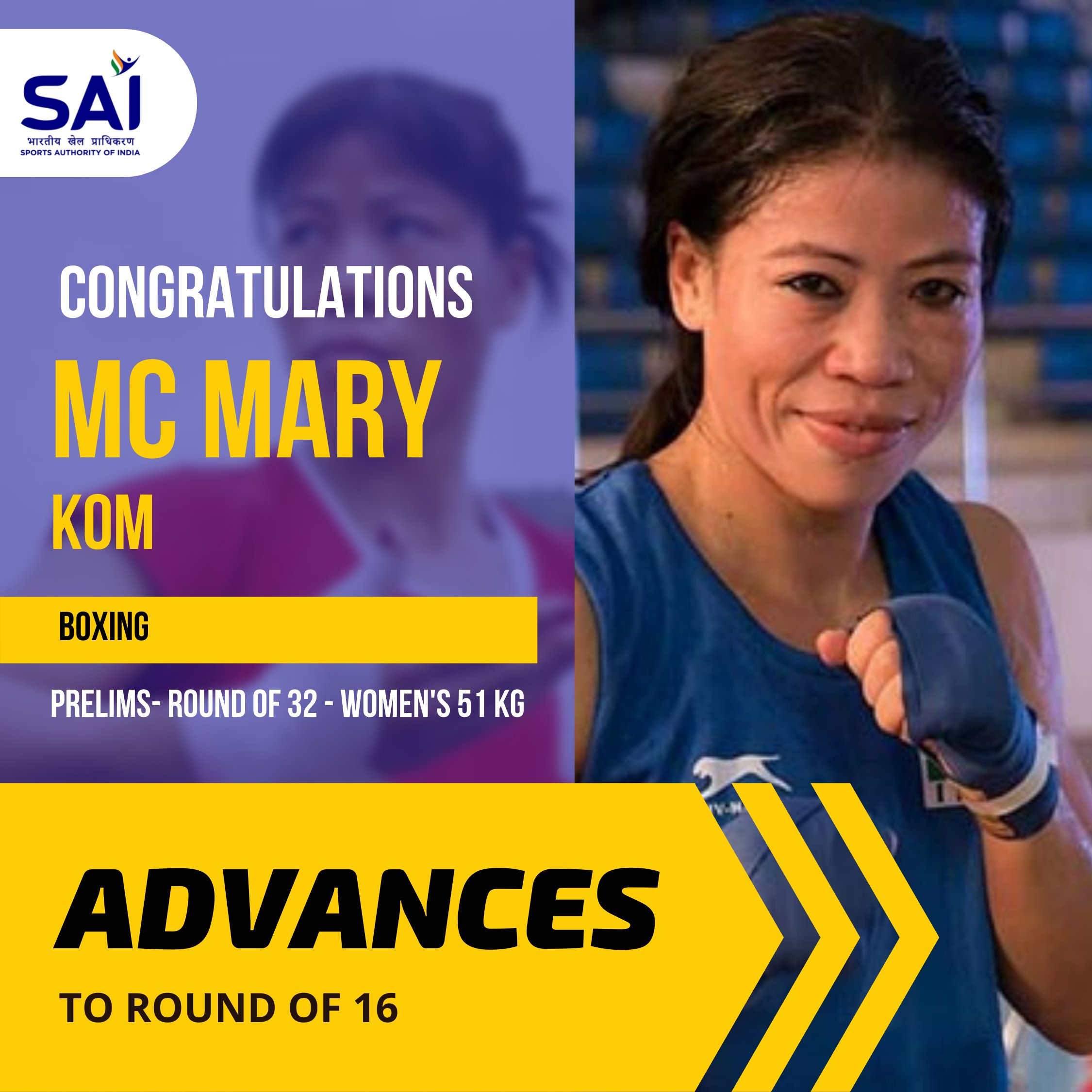 Indian boxer M C Mary Kom (51kg) enters pre-quarters of Olympic Games, beating Dominica's Miguelina Hernandez Garcia in opening round...