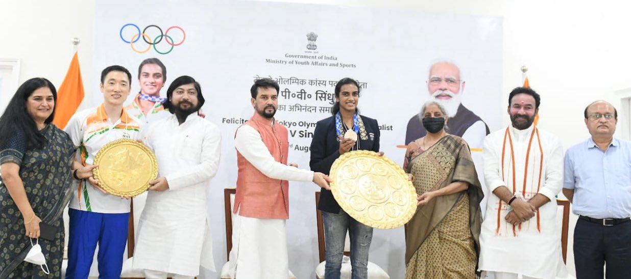 PV Sindhu you are amongst India's greatest Olympians !  Your are India's icon,inspiration & you've caught the imagination of every Indian who dreams of playing for the country!  You represent what dreams are truly made of & what sheer hardwork can achieve.  Welcome Home Champ! :Sports Minister Anurag Thakur