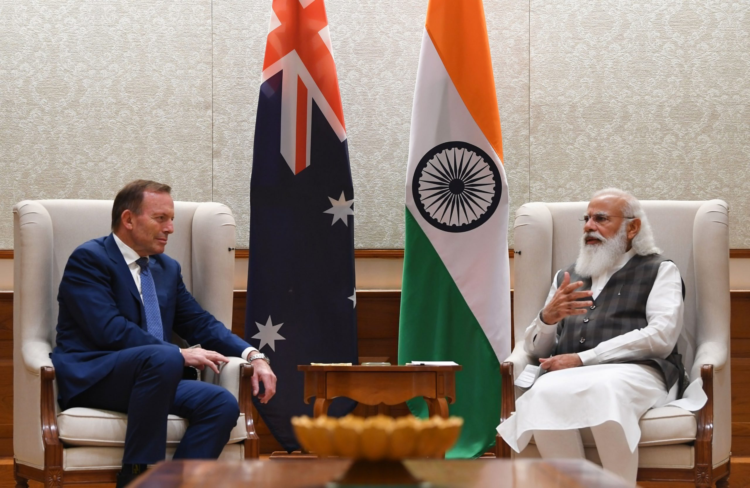 Meeting between Prime Minister Narendra Modi and  Tony Abbott, Australian PM's Special Trade Envoy for India...