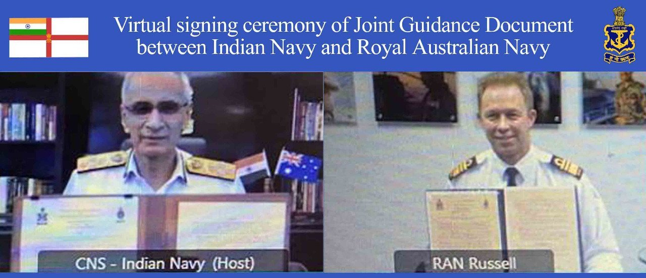 'JOINT GUIDANCE FOR THE AUSTRALIA – INDIA NAVY TO NAVY RELATIONSHIP' SIGNED BETWEEN INDIAN NAVY & AUSTRALIAN NAVY..m