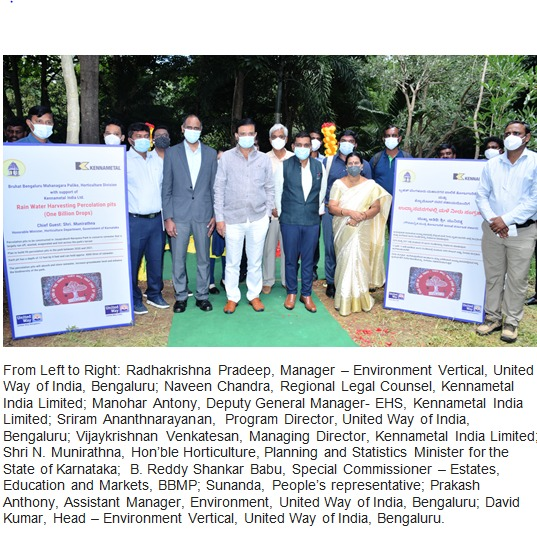 """Kennametal India launches the """"One Billion Drops"""" project in Bengaluru in partnership with United Way of India"""